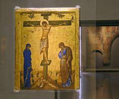 Αμφιπρόσωπη εικόνα του 14ου αι., Βυζαντινό και Χριστιανικό Μουσείο - Αρχαιολογία Online Christian Crafts, Religious Paintings, Byzantine Icons, Holy Cross, Orthodox Icons, Roman Empire, Fresco, Medieval, Mosaic
