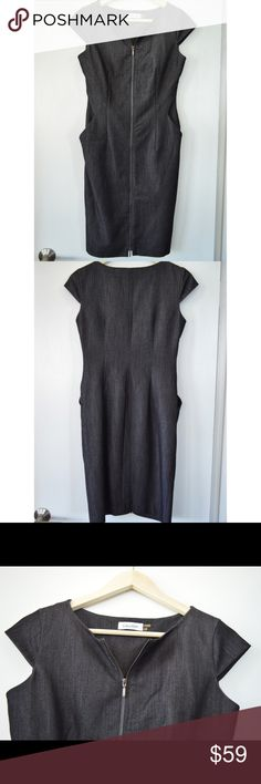 Calvin Klein Zip Front Dress Calvin Klein Zip Front Dress. Color is Charcoal Gray / Black with White. Size 2. Fully lined, cap sleeves and front pockets! Excellent pre-loved condition. Calvin Klein Dresses