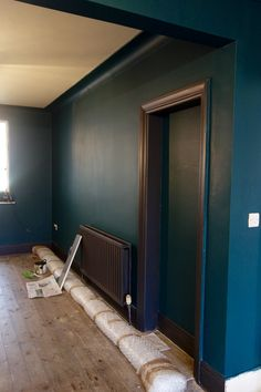 Valspar Sherwood Forest and Gentle Shadows. Mid project. Such a transformation. Go bold or go home.