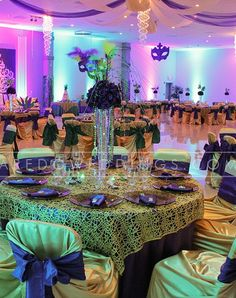 1920's WEDDING THEMED RECEPTION TABLESCAPES | Mirage – Mardi Gras Quince – Laredo Weddings and Quinces