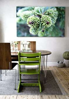 HELT NATURLIG: Spisebordet og stolene i valnøtt og stål er fra danske Naver Collection. Den grønne Trip-Trapp-stolen fra STokke står fint til bildet av et granskudd som beboeren har tatt selv. Den hvite skulpturlampen i hjørnet er Flowershell Cocoon er fra 2have.dk.
