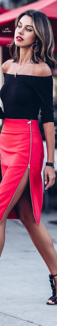 black fitted half-sleeve off-shoulders top, waisted strawberry leather skirt, deep tan, red wine pout, shoulderlength dark hair w/ subtle blonde accents
