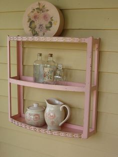 Vintage Pink Metal Bathroom Shelf / Shabby Chic / by Fannypippin,