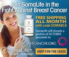 Free Shipping all month long at ShopSomaLife.com with code SOMABCA. Plus, SomaLife will donate a percentage of October proceeds to breastcancer.org. Shop for the cause!