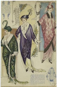 1913 opera and evening coats. I've recently re-watched BBC/HBO Parade's End series, Sylvia's character wears a coat similar to these, and is damn elegant.