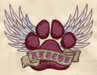 """Embroidery Designs at Urban Threads - Rescue Paw (#UT3543) 3.85""""w x 2.95""""h 12 August 2011"""