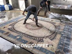 The 8x10ft beige and blue handmade persian rug are washed. Your carpets can get free washing like this if you buy from us.