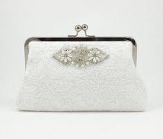 Ivory Bridal Clutch / Lace Clutch / Wedding Purse