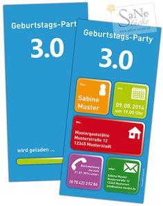 Witzige Einladungskarte zur Geburtstags-Party 3.0 für alle Technik-Freaks und Nerds!