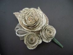 Spiral rose boutonniere buttonhole for groom or corsage vintage book paper with burlap leaf for farmhouse country wedding Rose Wedding, Chic Wedding, Wedding Blog, Wedding Planner, Wedding Flowers, Wedding Ideas, Wedding Stuff, Wedding Fair, Wedding Crafts
