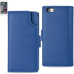Reiko Iphone 6- 6S 4.7Inches Genuine Leather Wallet Case With Mul Page Car Holders And Rfid Shielded Card Slots In Ultramarine