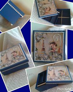 Caixa com divisória e bandeja para bijou 16x16x7 Azul e palha, papel scrap decorado com pérolas e brilhos