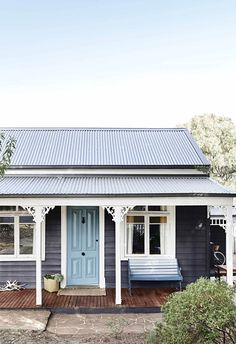 Renovated Victorian weatherboard cottage in Daylesford with pale blue door, timber decking and white trim. Cottage, House, Cottage Exterior, Sale House, Weatherboard House, Australian Homes, Renovations, Daylesford, Garage Door Types