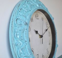 Ornate Distressed Wall Clock -  Aqua Shabby Chic - French Country Wall Decor - Hollywood Regency - Home Decor - SALE. $29.00, via Etsy.