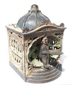 Antique mechanical bank - Hall's Lilliput Antique Coins, Antique Metal, Money Bank, Antique Decor, Prams, Tin Toys, Vintage Toys, Cast Iron, Decorative Boxes