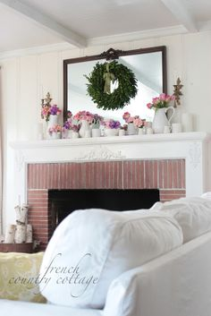 decorating - mantle with milk glass display