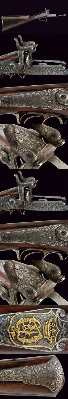 A beautiful pin-fire shotgun without barrels from noble property   dating: third quarter of the 19th Century   provenance: France