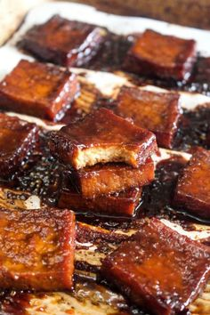 This 6 ingredient Best Ever Baked Tofu is jam packed with savory & sweet flavor! Learn how to make even tofu haters into lovers with this recipe. Veggie Recipes, Whole Food Recipes, Vegetarian Recipes, Cooking Recipes, Healthy Recipes, Vegan Tofu Recipes, Firm Tofu Recipes, Barbecue Tofu Recipes, Tofu Recipes Baked