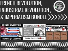 FRENCH REVOLUTION, INDUSTRIAL REVOLUTION, AND IMPERIALISM BUNDLE World History**What makes these different from the units is that I can include a lot more video and other resources since I am limited to 200 mb of space.*** **PLEASE READ**: This item is only available to download using google drive.