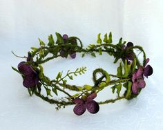 Woodland fairy Crown, Moss and Hydrangea Circlet, Purple Hydrangea Blossom and Moss Vine Crown Woodland Fairy Costume, Fairy Costumes, Halloween, Fairy Crown, Fairy Clothes, Kanzashi, Circlet, Paperclay, Tiaras And Crowns