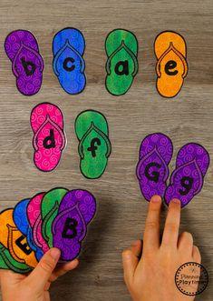 Preschool Letter Matching Game for Summer #preschool #summerpreschool #preschoolprintables #preschoolcenters #planningplaytime #alphabet