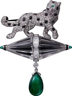Platinum, emeralds, rock crystal, onyx, diamonds