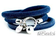 leather bracelet BLUE VELVET