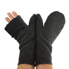 Men's Convertible Mittens in Dark Charcoal Grey  by mirabeans