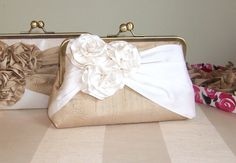 EllenVintage Roses Silk Clutch in Tan and Ivory, Wedding clutch, Wedding purse, Bridesmaid clutch