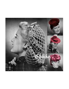 PDF 1940s Snood and Hats with Head Coverings - 4 Crochet pattern PDF 0375 on Etsy, $4.75