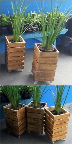 Rustic and lots artistically, this pallet planter design is what bringing you ou. - Rustic and lots artistically, this pallet planter design is what bringing you out to make it part of - Log Planter, Wood Pallet Planters, Winter Planter, Tiered Planter, Diy Planter Box, Herb Planters, Indoor Planters, Fence Planters, Planter Ideas