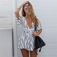 Beautiful Stripe Deep-V Short Jumpsuit