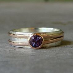 Chatham Alexandrite Engagement, Wedding, or Everyday Ring with Recycled 14k Rose Gold and Recycled Sterling Silver, Made to Order $628