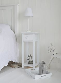 Narrow Nightstand tall, narrow bedside table to go with tall bed. new england white