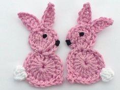 Crochet applique 2 large pink crochet Easter от MyfanwysAppliques, £3.00