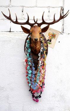 reindeer antlers with crochet necklaces