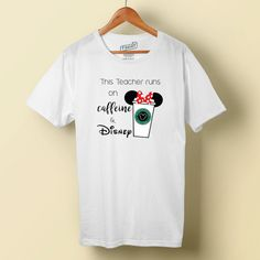 Are you a teacher that runs on caffeine & Disney?! This is the tee for you! FEATURES: Minnie bow detail between ears, original EARBUCKS COFFEE design with Mickey head at the center!  **Item is digital download** Since this is a digital product, you can make as many tees, jackets, and tote bags with this design as you want - you keep the files forever! Perfect for your entire group or family! Files included: *Teacher Caffeine & Disney PDF *Teacher Caffeine & Disney Mirror PDF *Tips...