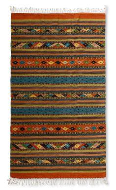 Zapotec Wool Rug 'FIESTA In OAXACA' Multicolor 4 x 6 ft Handmade NOVICA Mexico