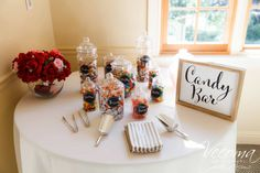 Simple and sweet candy bar! Desert Bar, Yellow River, Daytime Wedding, Candy Bars, Something Blue, Red Roses, Congratulations, Deserts, Table Decorations