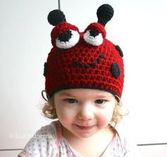Crochet hat pattern crochet baby ladybug hat by LuzPatterns, $3.99