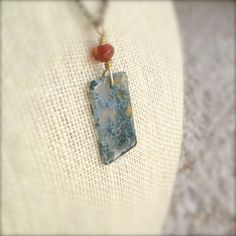 Moss Agate Pendant Necklace with Amber Beads on Brass Chain / OOAK by MuffyandTrudy on Etsy