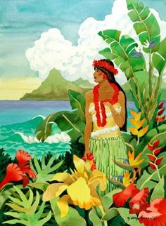 Limited Edition Giclee Reproduction of x Girl is a collectible museum quality reproduction printed on cotton rag paper with archival inks. The piece is hand signed and numbered by the artist. Hawaiian Woman, Hawaiian Art, Vintage Hawaiian, Poster Photography, Watercolor Projects, Hula Girl, Tropical Art, Beach Print, Coastal Art