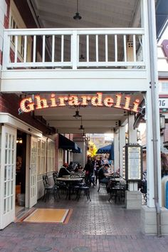 Ghirardelli Chocolate San Francisco CA USA Ghirardelli Square is a landmark public square with shops and restaurants in the Fisherman's Wharf area of San Francisco, California