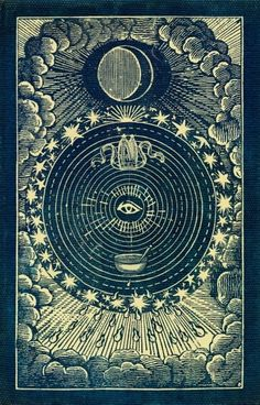 vintage occult posters and art // Moon tarot card // Moon Phase Illustration Art And Illustration, Art Carte, Occult Art, Ouvrages D'art, Mystique, Alphonse Mucha, Sacred Geometry, Geometry Art, Dark Art
