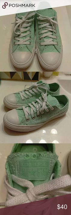 LIKE NEW! Women's Converse Sneakers Mint green lace-up sneakers with an eyelet design throughout. Look like new, little to no wear on the bottoms (as pictured). Very cute pop of color with leggings or jeans, comfortable enough for every day wear. Converse Shoes Sneakers