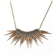 Bronze Spike Tassel Statement Necklace ($11) ❤ liked on Polyvore featuring jewelry, necklaces, colar, tassel necklaces, tassle necklace, spiked necklaces, statement necklace and tassel jewelry