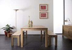 Ethnicraft oak straight table & benches