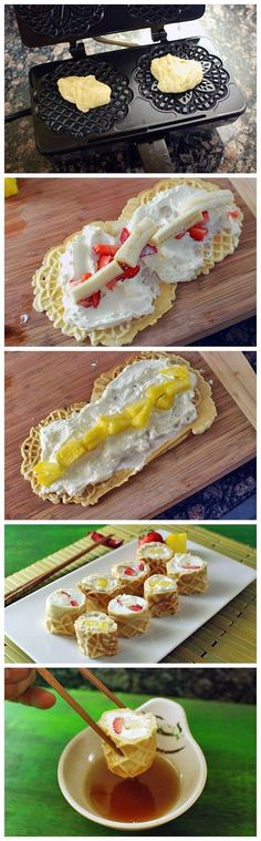 'Waffle' Breakfast 'Sushi' by tablespoon via normalrecipe