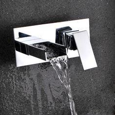Waterfall Bathroom Vessel Sink Faucet in Chrome Ceramic Valve Laundry Filler