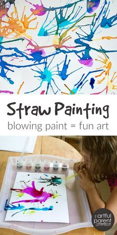 Blow Painting with Straws Super Fun, Super Simple Art Idea for Kids! is part of crafts For Kids - Blow painting with straws is simple yet lots of fun for kids of all ages Use a straw to blow liquid paint around on paper, creating interesting designs Blow Paint, Crafts To Do, Diy Kids Crafts, Crafts For 3 Year Olds, Arts & Crafts, Fall Kid Crafts, Arts And Crafts For Kids Toddlers, Older Kids Crafts, Family Crafts